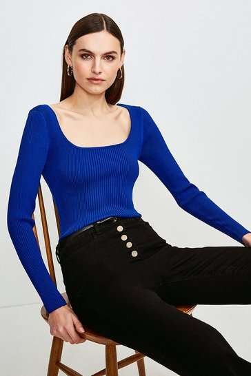 Cobalt Long Sleeve Knitted Rib Square Neck Top