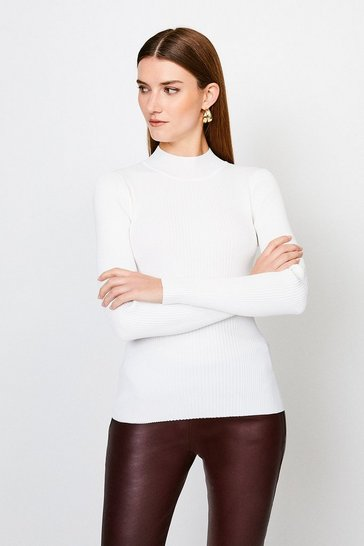 Ivory Knit Rib Long Sleeve Funnel Neck Top