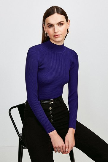 Midnight Knit Rib Long Sleeve Funnel Neck Top