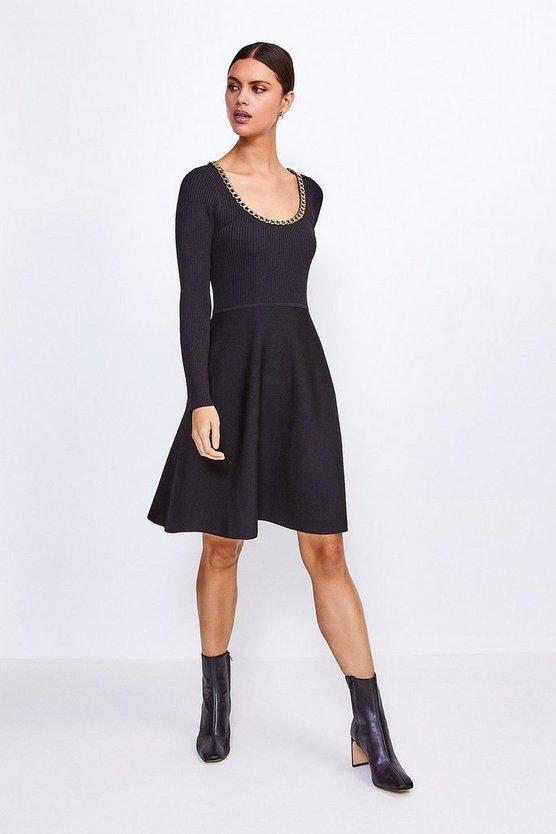 Black Chain Scoop Neck Knitted Skater Dress