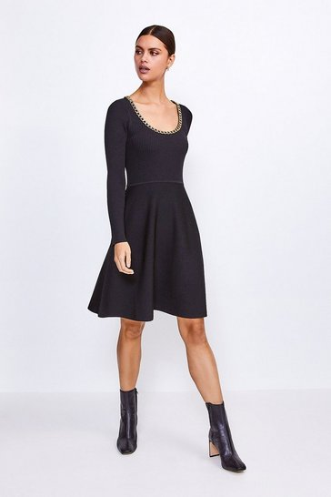 Black Chain Scoop Neck Knitted Skater Dress