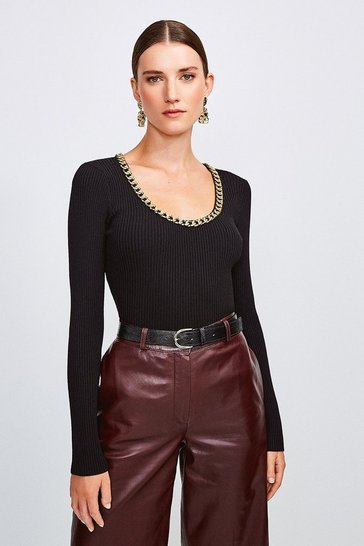 Black Chain Scoop Neck Knitted Top
