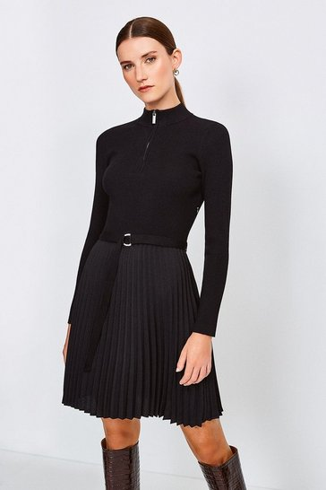 Black Pleated Short Skirt Knitted Dress