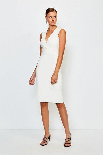 Ivory Italian Jersey Plunge Neck Pencil Dress
