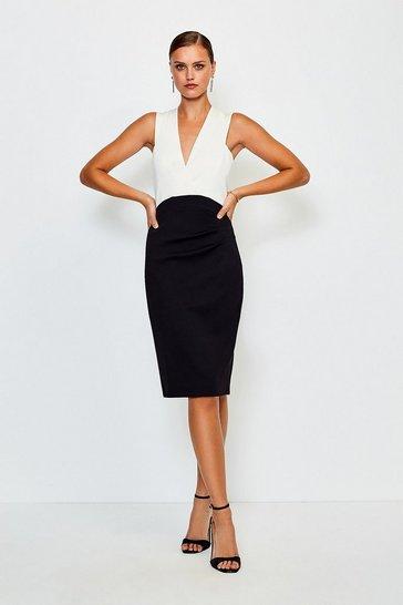 Mono Italian Jersey Plunge Neck Pencil Dress