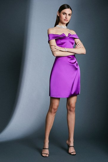 Orchid Italian Satin Origami Bardot Short Dress