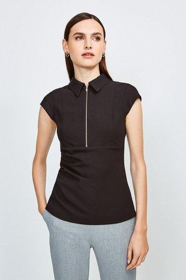 Black Zip Collar Top