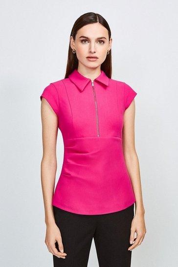 Pink Zip Collar Top