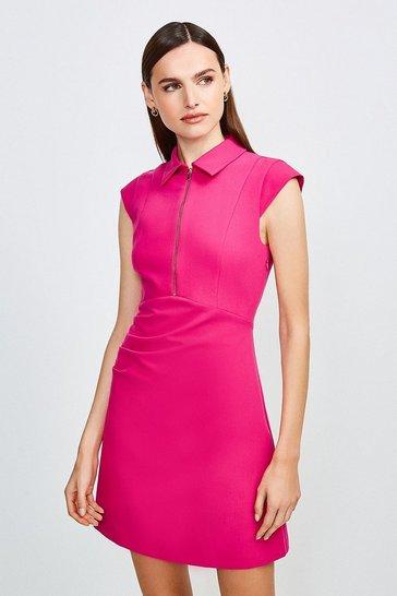 Pink Zip Collar A Line Dress
