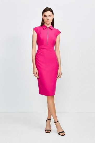 Pink Zip Collar Pencil Dress