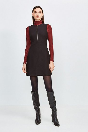Black Zip Front Sharp Seam A Line Dress