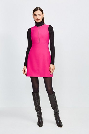 Pink Zip Front Sharp Seam A Line Dress