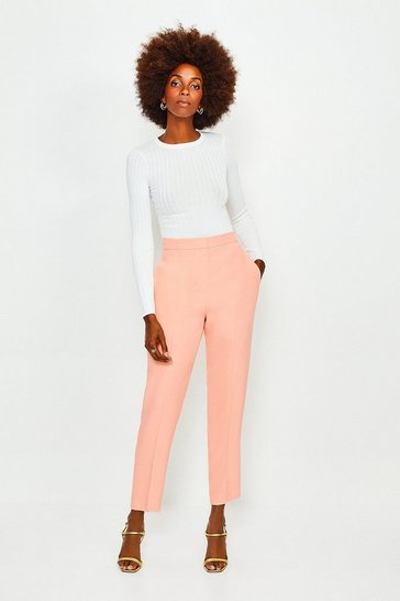 Apricot Soft Tuxedo Peg Trousers