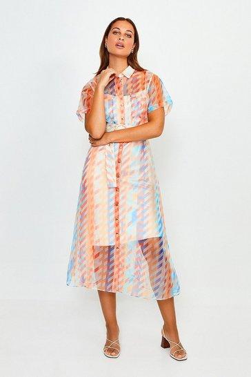 Blue Geo Print Organza Shirt Dress