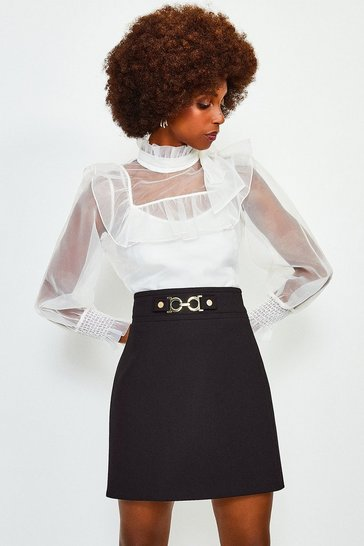 Ivory Long Sleeve Bow Neck Organza Blouse