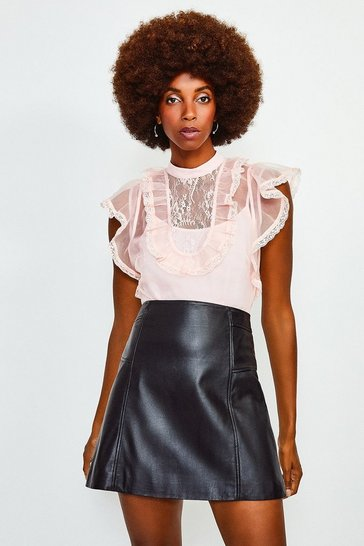 Blush Ruffle Neck Organza Top