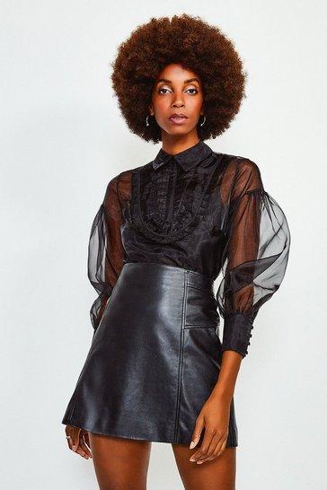 Black Organza Blouson Sleeve Top