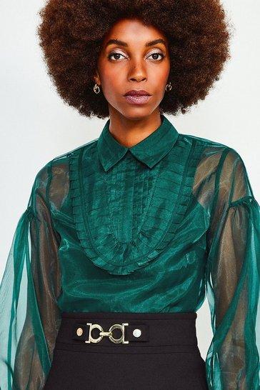 Green Organza Blouson Sleeve Top