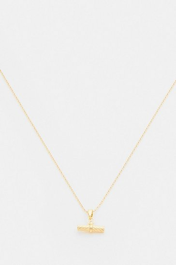 Gold Plated Mini T Bar Necklace