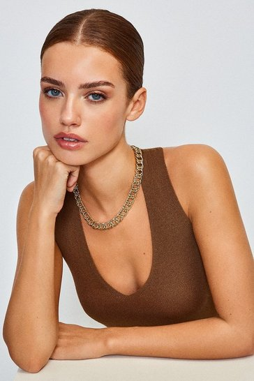 Gold Plated Pave Chain Necklace