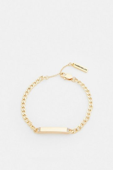 Gold Plated ID Tag Chain Bracelet