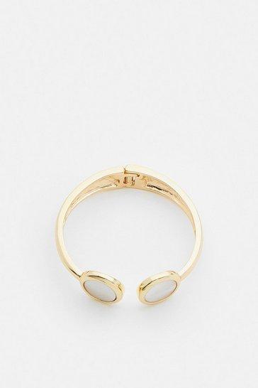Gold Plated Stone Cuff Bracelet
