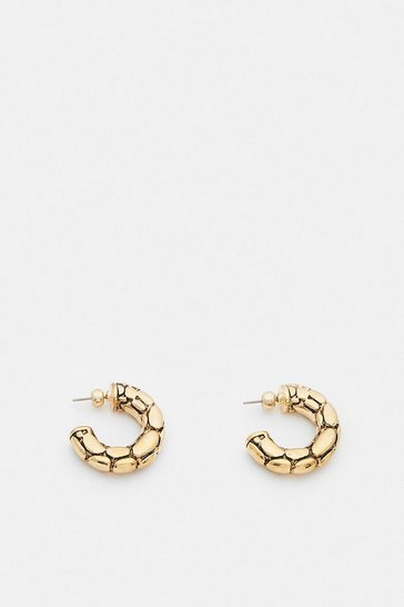Gold Plated Croc Hoops