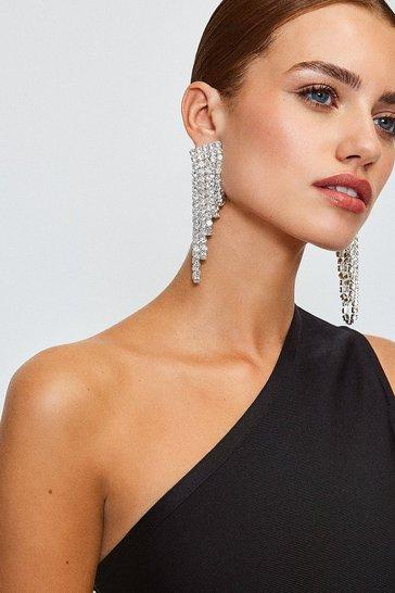 Silver Diamante Glam Drop Earrings