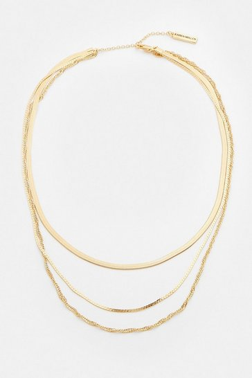 Gold Plated Trio Chain Necklace