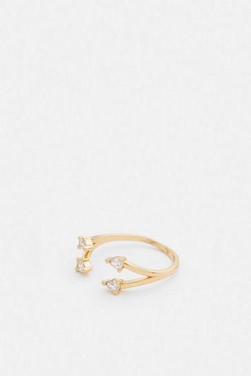 Gold Plated Traingle Stone Ring