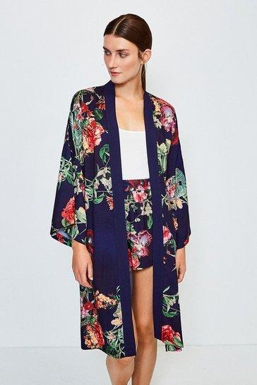 Navy Floral Nightwear Kimono