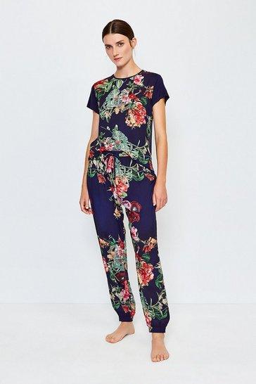 Navy Floral Cuffed Nightwear Pant