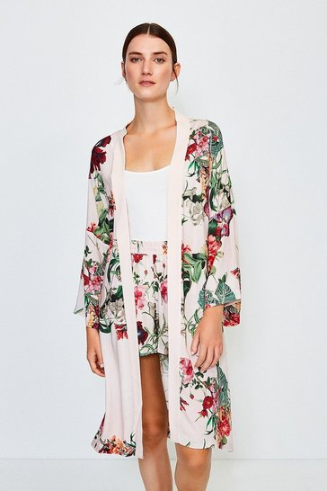 Pink Floral Nightwear Kimono