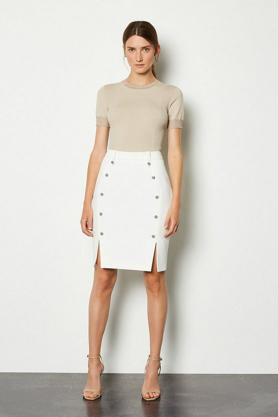 Ivory Tailored Button Mini Skirt