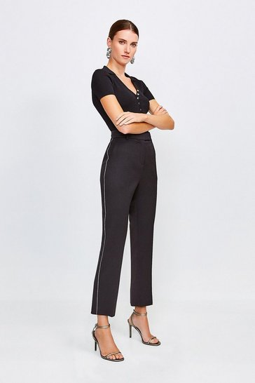 Black Contrast Piping Wool Blend Trouser
