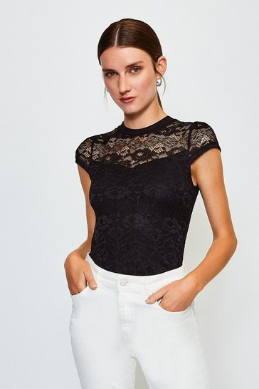 Black Lace Short Sleeve Jersey Top