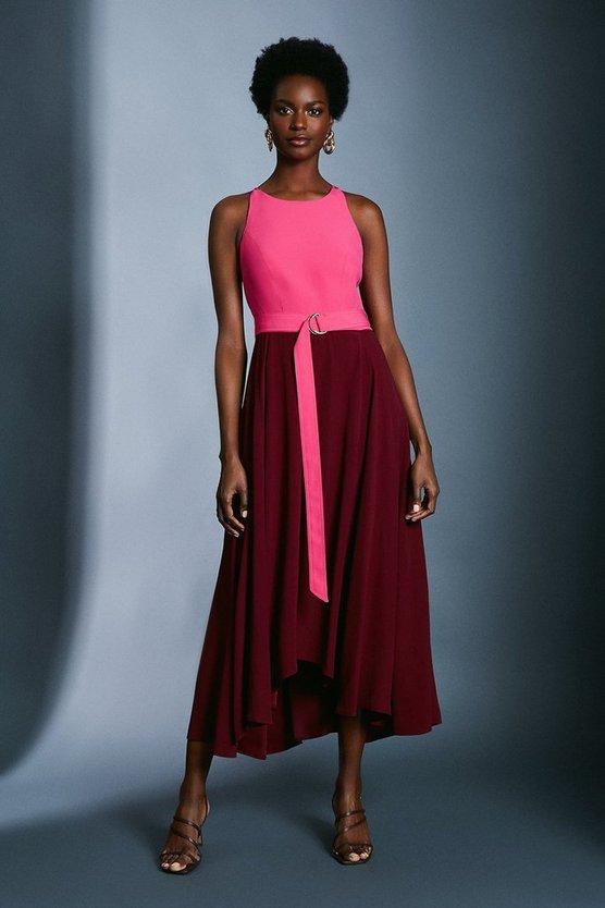 Merlot Colourblock Halter Neck Dress