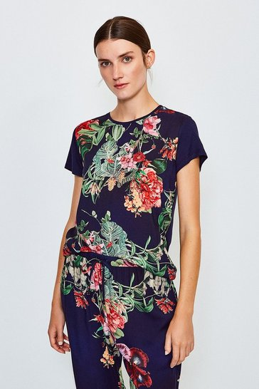 Navy Floral Nightwear Top