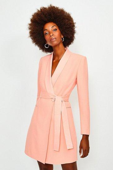 Apricot Tuxedo Wrap Dress