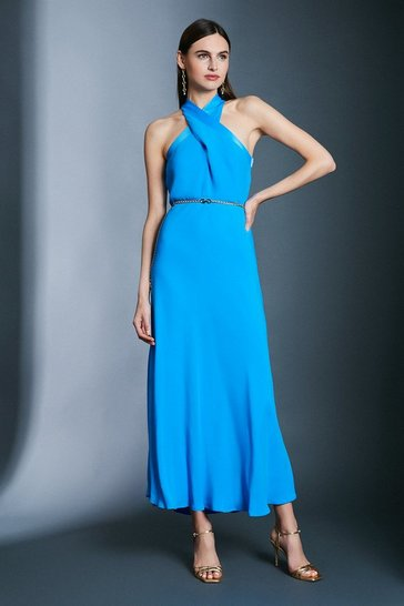 Aqua Contrast Collar Halter Neck Dress