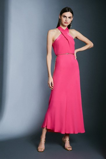 Pink Contrast Collar Halter Neck Dress