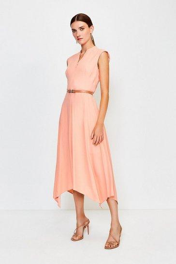 Apricot Belted Notch Neck Dress