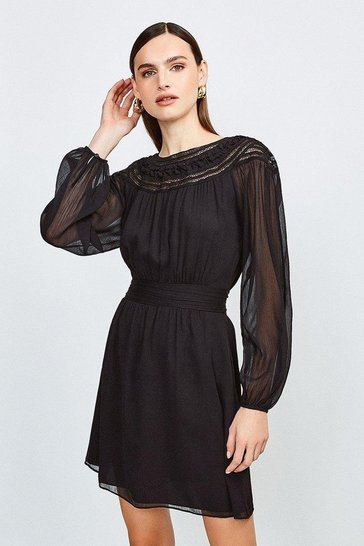 Black Macram Yoke Chiffon Dress