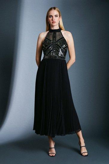 Black Chemical Lace Sequin Pleat Dress