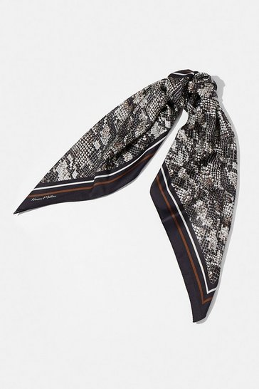 Brown Snake Print Satin Scarf