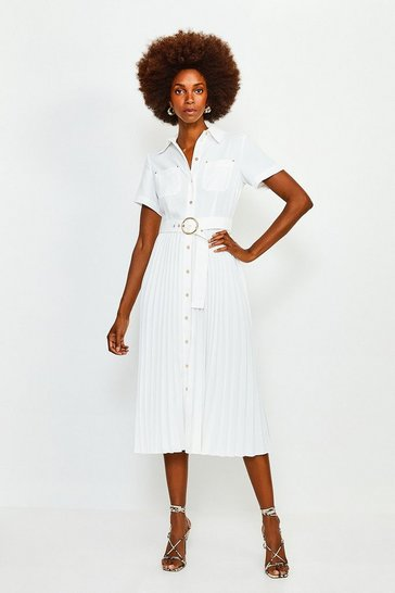 Cream Plain Coloured Pleated Shirt Dress