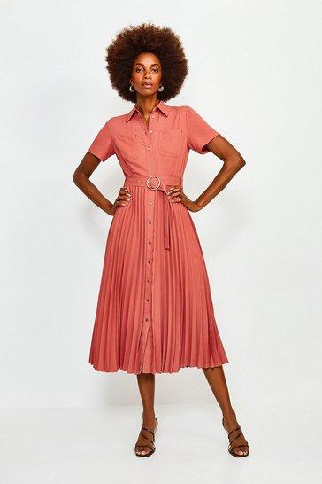 Tan Plain Coloured Pleated Shirt Dress