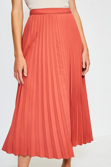Tan Sunray Pleated Midi Skirt