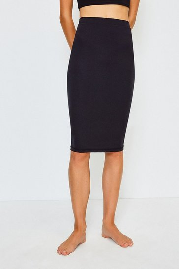 Black Smoothing Essentials Midi Slip Skirt