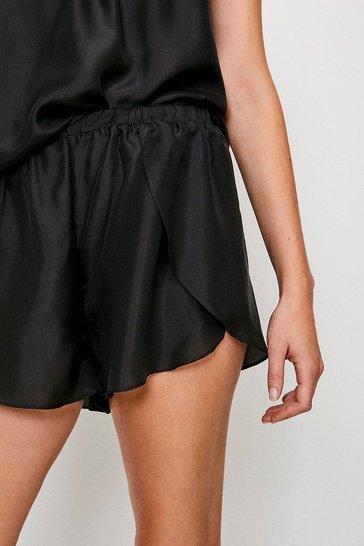 Black Silk Lounge Shorts